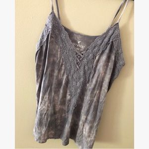American Eagle Grey Tie Dye Lace Embroidered Top S